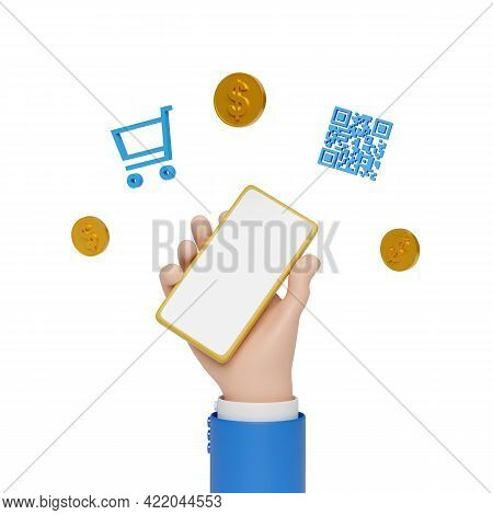 Cartoon Hand Holding A Mobile Phone With Coins, Shopping Cart And Qr Code Floating Isolated In White