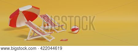 Two Red Deck Chairs And Beach Umbrella On Yellow Background. 3d Illustration.