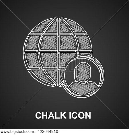 Chalk Freelancer Icon Isolated On Black Background. Freelancer Man Working On Laptop At His House. O