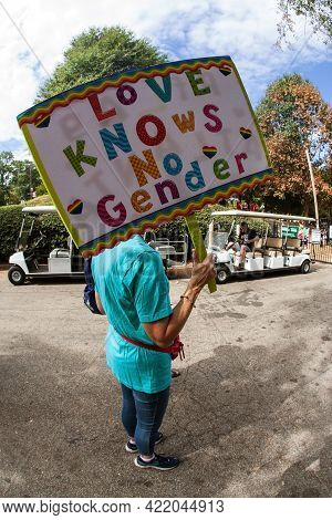 Atlanta, Ga/usa - October 12:  A Woman Holds A Sign That Says