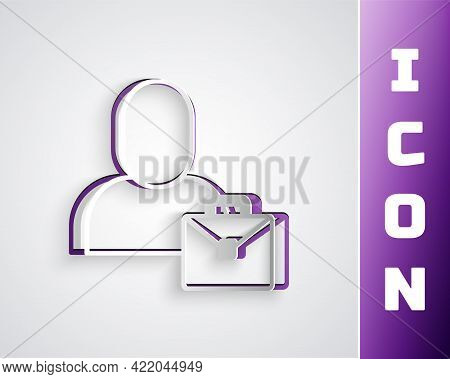 Paper Cut Freelancer Icon Isolated On Grey Background. Freelancer Man Working On Laptop At His House
