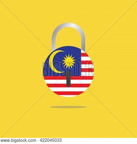 A Vector Of Malaysia Flag In Pad Lock Shapeon Yellow Background. Malaysia Will Having Third Lockdown