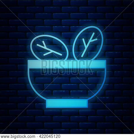 Glowing Neon Salad In Bowl Icon Isolated On Brick Wall Background. Fresh Vegetable Salad. Healthy Ea