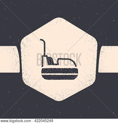 Grunge Bumper Car Icon Isolated On Grey Background. Amusement Park. Childrens Entertainment Playgrou