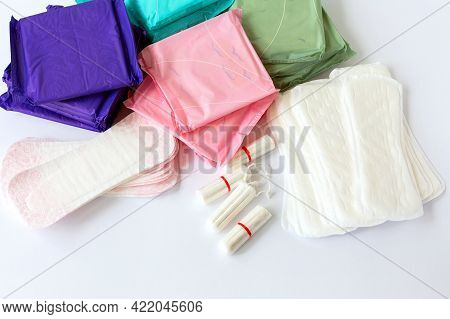 Menstruation Cotton Sanitary Pads And Tampons For Women Hygiene Protection. Feminine Hygiene. Soft T