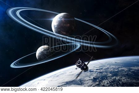 Planets In Deep Space. Beautiful Cosmic Landscape. Space Station In Orbit. Science Fiction. Elements