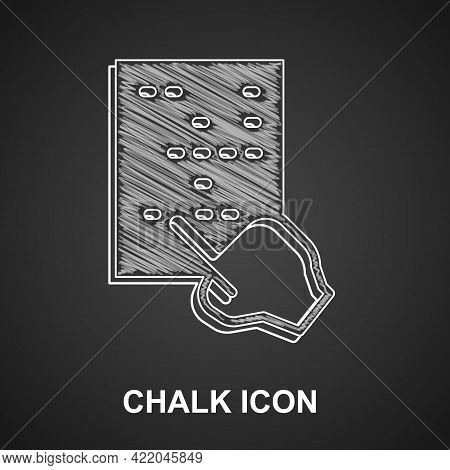Chalk Braille Icon Isolated On Black Background. Finger Drives On Points. Writing Signs System For B