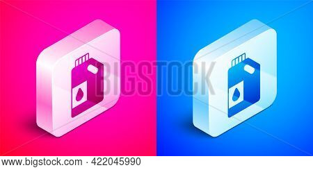 Isometric Canister For Motor Machine Oil Icon Isolated On Pink And Blue Background. Oil Gallon. Oil