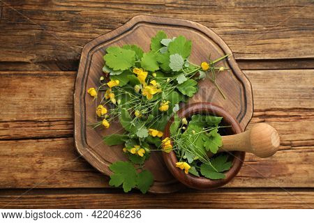 Celandine With Mortar, Pestle And Board On Wooden Table, Flat Lay