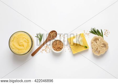 Composition With Body Scrub On White Background, Top View