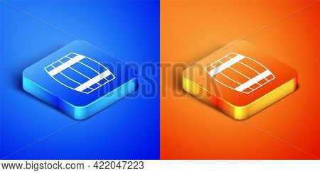 Isometric Wooden Barrel Icon Isolated On Blue And Orange Background. Alcohol Barrel, Drink Container