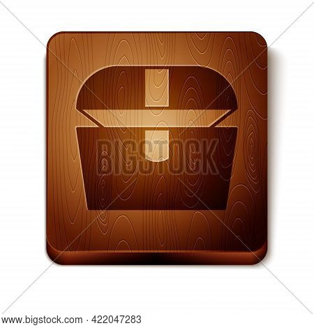 Brown Antique Treasure Chest Icon Isolated On White Background. Vintage Wooden Chest With Golden Coi