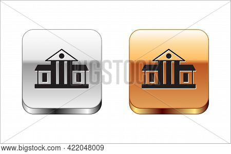 Black White House Icon Isolated On White Background. Washington Dc. Silver And Gold Square Buttons.