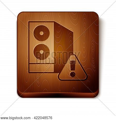 Brown Case Of Computer With Exclamation Mark Icon Isolated On White Background. Computer Server. Wor