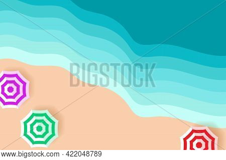 Top View Of The Sandy Beach. Beach Umbrellas And Sea Waves In Flat Design. Vacation Or Travel Concep