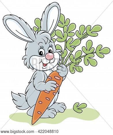 Happy Little Bunny With A Ripe Tasty Carrot From A Summer Vegetable Garden, Vector Cartoon Illustrat