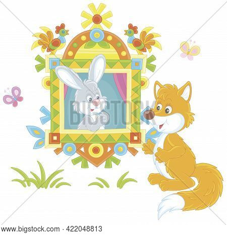 Sly Red Fox Talking To A Little Grey Hare Looking Out Of A Traditionally Decorated Window Of A Wood