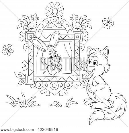 Sly Fox Talking To A Little Hare Looking Out Of A Traditionally Decorated Window Of A Wood Village L
