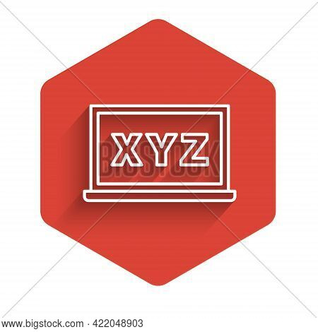 White Line Xyz Coordinate System On Chalkboard Icon Isolated With Long Shadow. Xyz Axis For Graph St