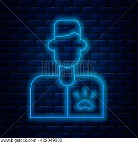 Glowing Neon Line Veterinarian Doctor Icon Isolated On Brick Wall Background. Vector