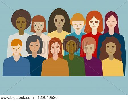 Multi Ethnic Group Of Women Portrait. Different Girls Stand Side By Side Together Sisterhood And Fem