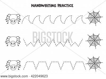 Tracing Lines For Kids With Cute Black And White Spider And Web. Handwriting Practice For Children.