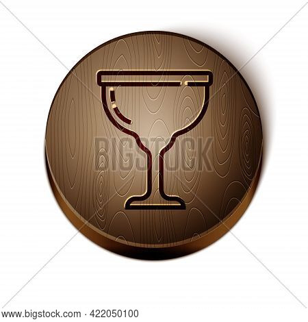 Brown Line Jewish Goblet Icon Isolated On White Background. Jewish Wine Cup For Kiddush. Kiddush Cup