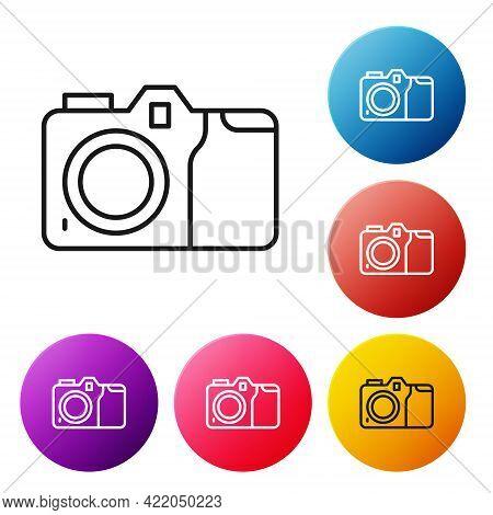 Black Line Photo Camera Icon Isolated On White Background. Foto Camera Icon. Set Icons Colorful Circ