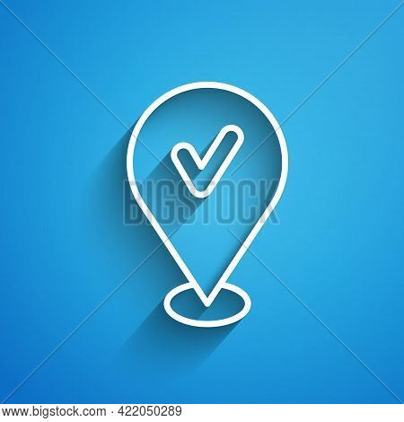 White Line Map Pin With Check Mark Icon Isolated On Blue Background. Navigation, Pointer, Location,