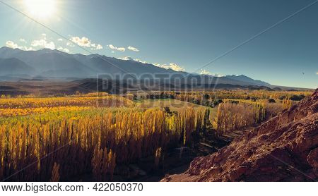 Sunny Autumn Afternoon By The Andes Mountains In The Valley Of Uspallata, Province Of Mendoza, Argen