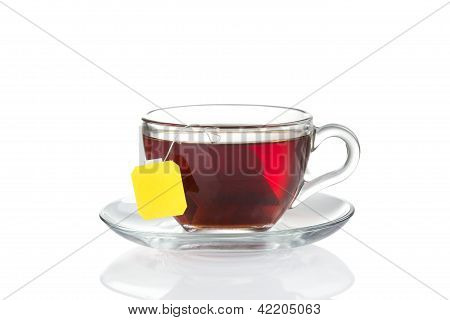Cup of tea with bag (blank label) inside