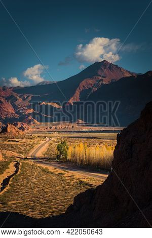 Road Across The Desert By The Andes Mountains In The Uspallata Valley, Province Of Mendoza, Argentin