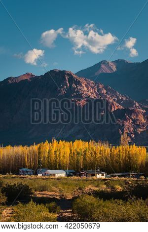 Small Houses By The Andes Mountains In The Valley Of Uspallata, Province Of Mendoza, Argentina.