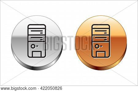 Black Line Computer Icon Isolated On White Background. Pc Component Sign. Silver-gold Circle Button.