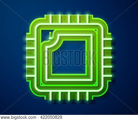 Glowing Neon Line Computer Processor With Microcircuits Cpu Icon Isolated On Blue Background. Chip O