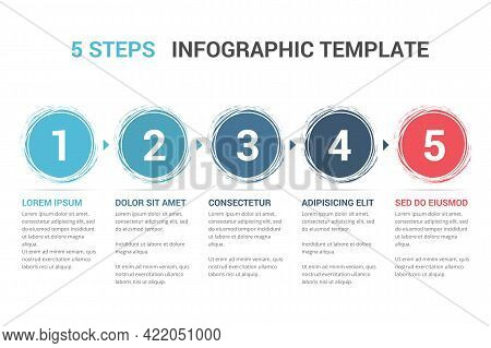 Infographic Template With Numbers In Circles And Text, Five Steps Or Options, Process Chart, Vector