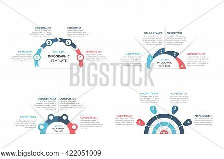 Set Of Infographic Templates With Arrows With 4 Steps, Workflow, Process Chart, Target Infographics,