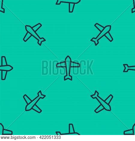 Blue Line Jet Fighter Icon Isolated Seamless Pattern On Green Background. Military Aircraft. Vector