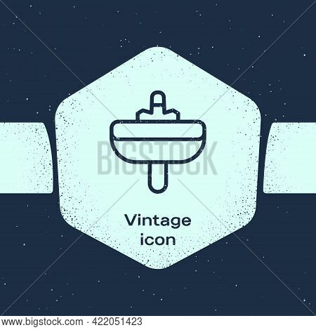 Grunge Line Washbasin With Water Tap Icon Isolated On Blue Background. Monochrome Vintage Drawing. V