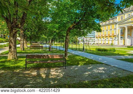 Pathway, Benches, Garden And Park In Old City Rogaska Slatina, Slovenia, South Styria. Grand Hotel.