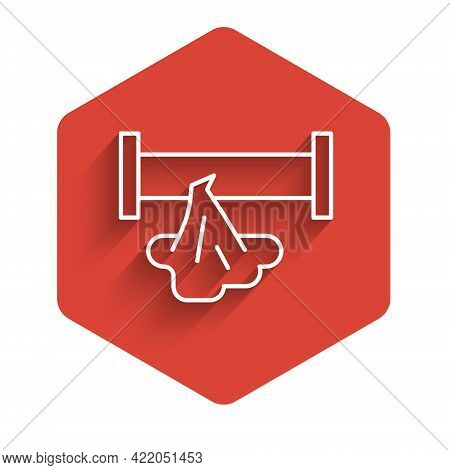White Line Broken Metal Pipe With Leaking Water Icon Isolated With Long Shadow. Red Hexagon Button.