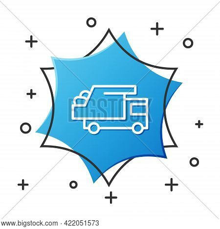 White Line Garbage Truck Icon Isolated On White Background. Blue Hexagon Button. Vector