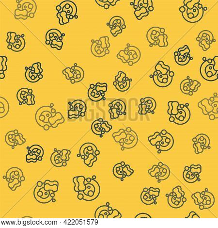 Blue Line Washing Dishes Icon Isolated Seamless Pattern On Yellow Background. Cleaning Dishes Icon.