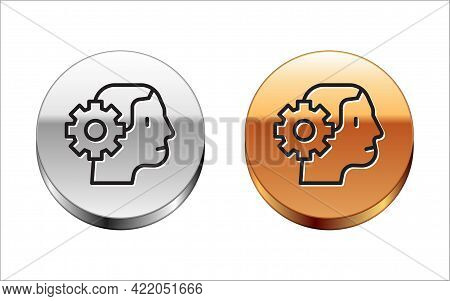 Black Line Humanoid Robot Icon Isolated On White Background. Artificial Intelligence, Machine Learni