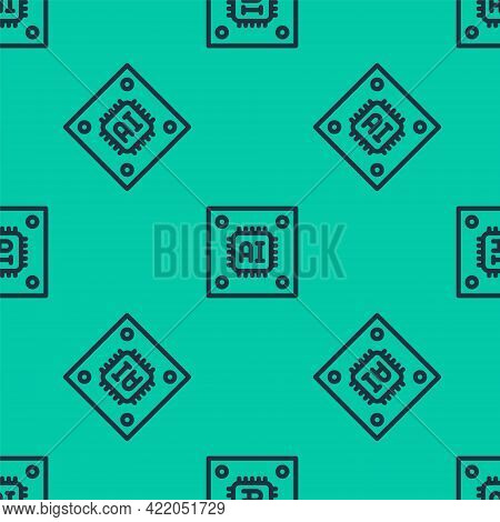 Blue Line Computer Processor With Microcircuits Cpu Icon Isolated Seamless Pattern On Green Backgrou
