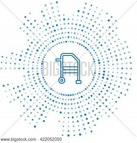 Blue Line Walker For Disabled Person Icon Isolated On White Background. Abstract Circle Random Dots.