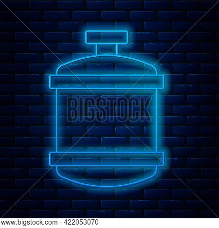 Glowing Neon Line Propane Gas Tank Icon Isolated On Brick Wall Background. Flammable Gas Tank Icon.