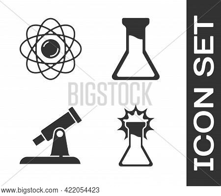 Set Test Tube And Flask, Atom, Telescope And Test Tube And Flask Icon. Vector