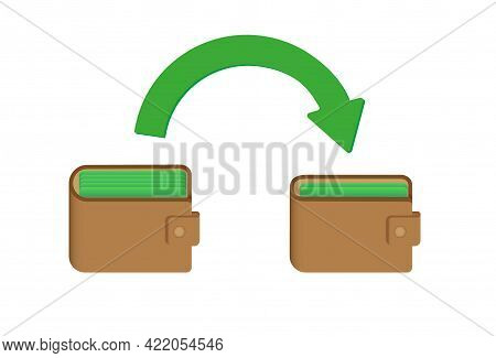 Wallets With Arrow. Money Transfer Concept. Vector Illustration.