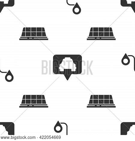 Set Route Location, Map Pointer With Taxi And Taxi Car Roof On Seamless Pattern. Vector